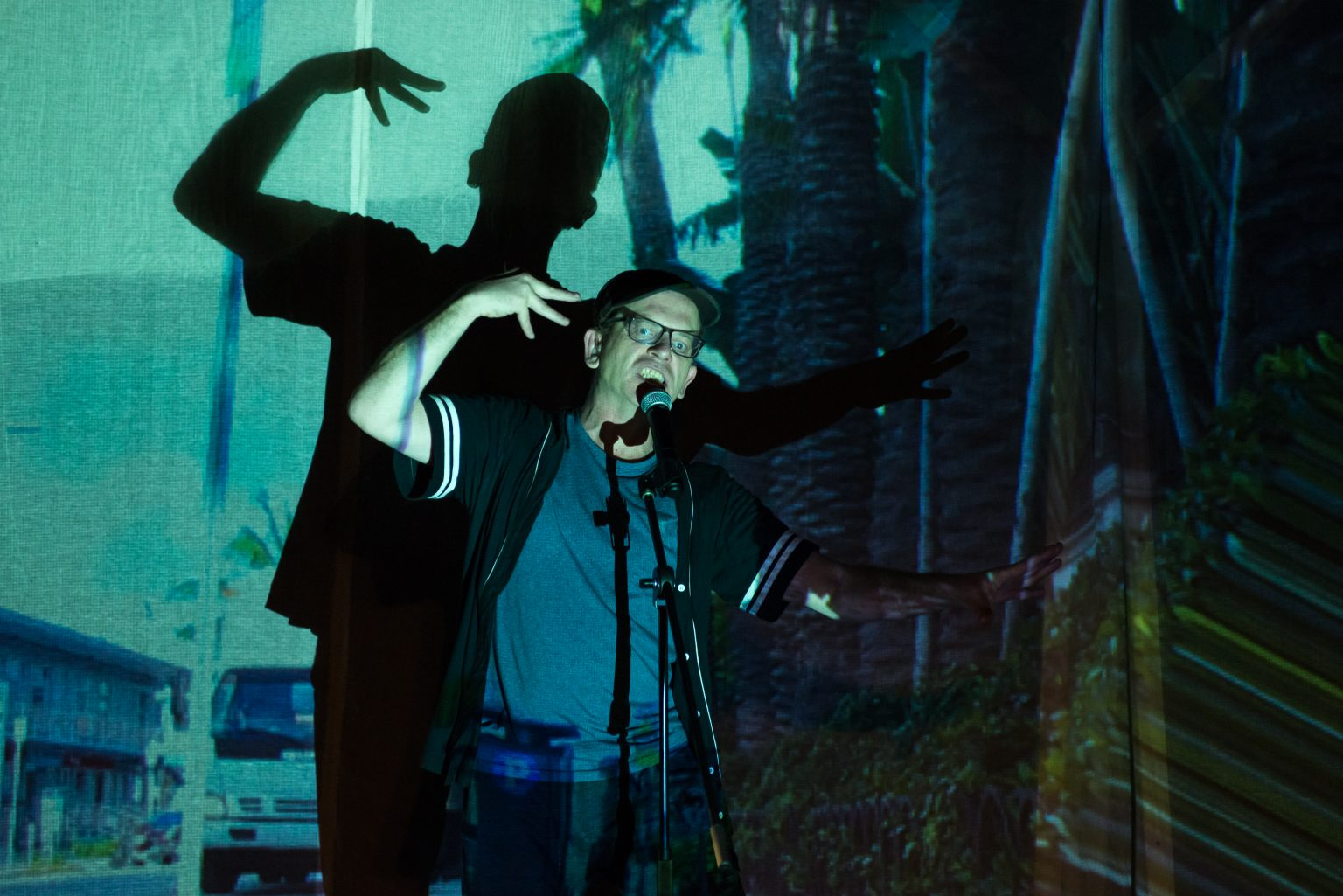 A man signing and talking to a microphone on stage. An image is projected onto him and the back wall, creating dramatic shadows.