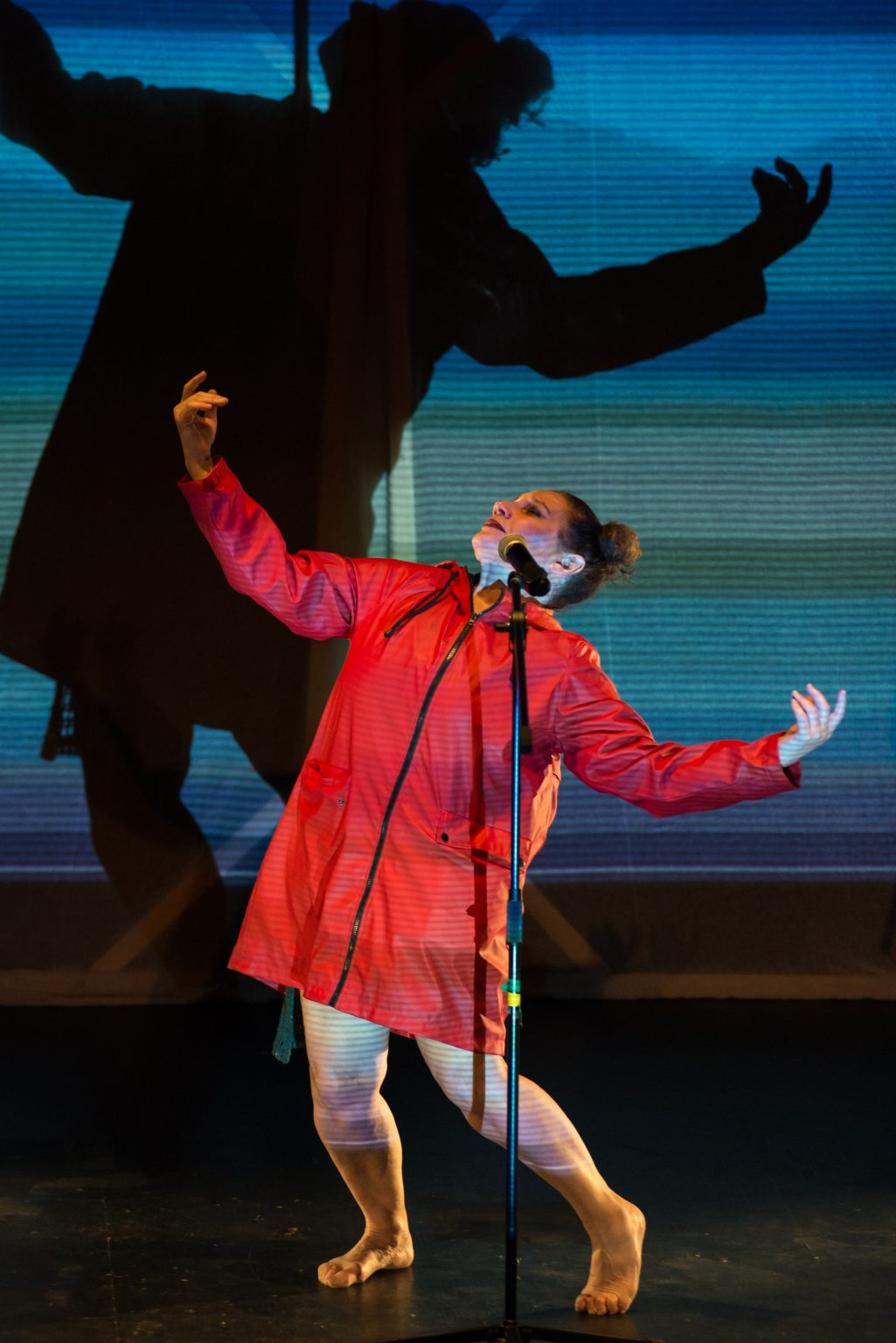 A woman dancing on stage. A blue, patterned light shines on her from the front, casting her shadow against the back wall.
