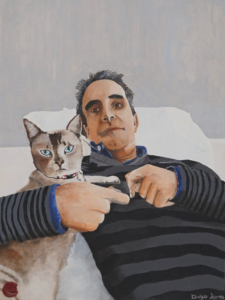 Diego Lamas Encabo's painting 'Melusina' of a person and a cat, reclining together on a white pillow.