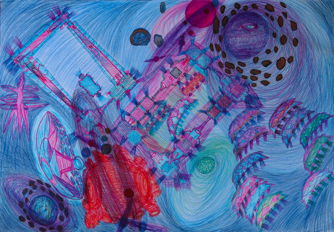 Image of Marcos Antonio Guerrero Herrera's work. Shades of blue, pink, orange, and green coloured pencil and ballpoint pen on paper depict a vibrant, surrealist intergalactic cityscape.